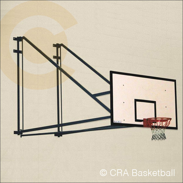 EXTENDED WALL MOUNTED FOLDING BASKETBALL GOALS